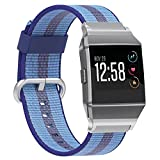 Juvnile Fitbit Ionic Smart Watch Nylon Wrist Watch Band Replacement for Men & Women | Breathable Nylon Sports Watch Wrist Band with Classic Buckle | Durable, Elegant (Light+DarkBlue)
