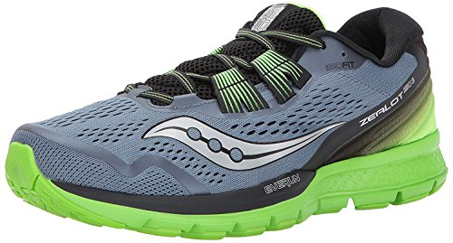 Saucony Mens Zealot ISO 3 Running Shoe, GREY/BLACK/SLIME, 42.5 D(M) EU/8 D(M) UK