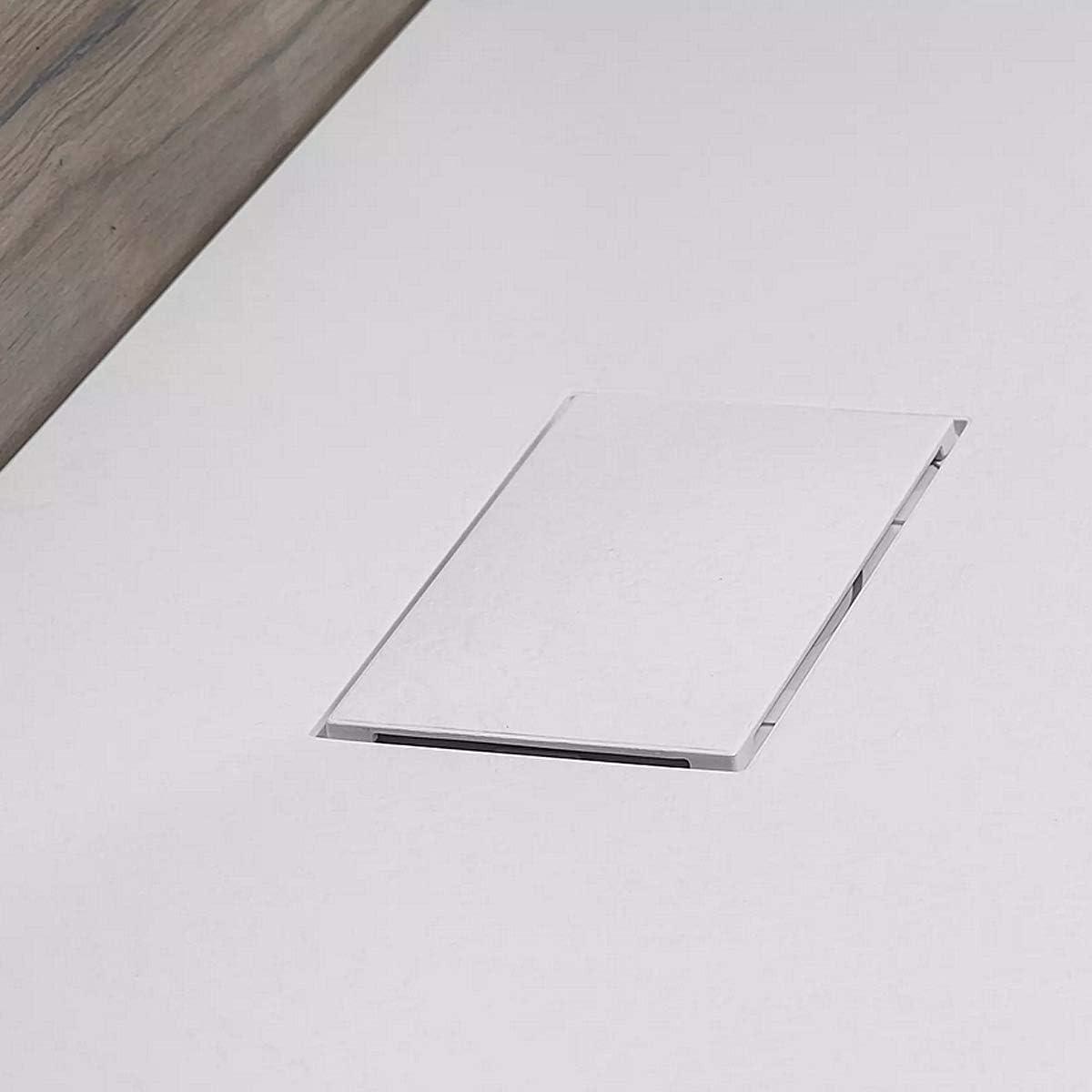 Essence ArredoBagno Receveur de Douche en Verre Ultra Fin en Fibre de Verre SMC Effet Pierre Ardoise /Épaisseur 2,6 cm Bonde Incluse Blanc 90x70 Blanc