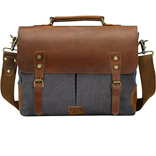 """Price comparison product image Messenger bag for men, Canvas Leather Satchel for Laptop up to 14-inch(Gray) 13""""(L)x10.5""""(H) x 4.1""""(W) Wowbox"""