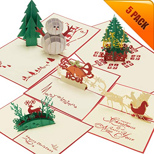 3D Christmas Cards 5 Pack Pop Up Greeting Cards Holiday Cards Gift with Envelope for Xmas