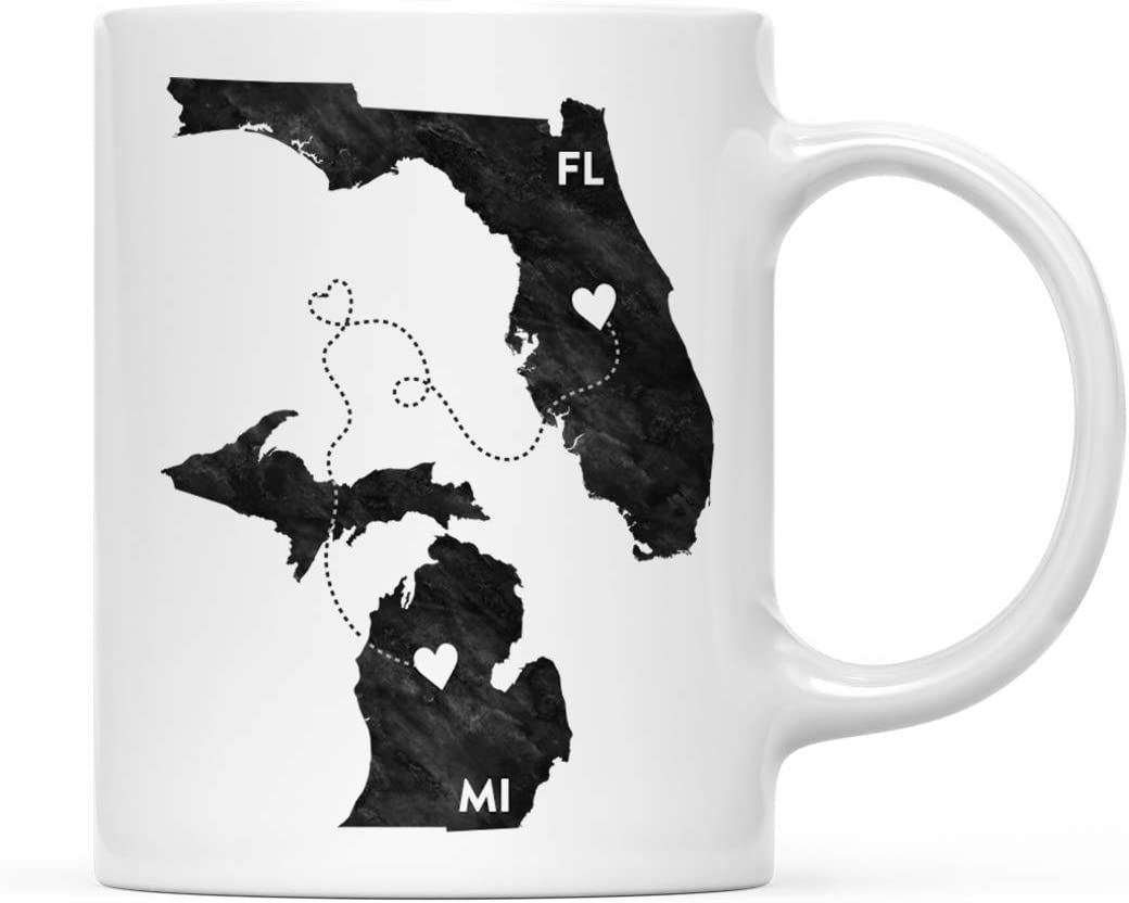 Andaz Press 11oz. Coffee Mug Long Distance Gift, Florida and Michigan, Black and White Modern, 1-Pack, Moving Away Graduation University College Gifts for Him Her Relationships