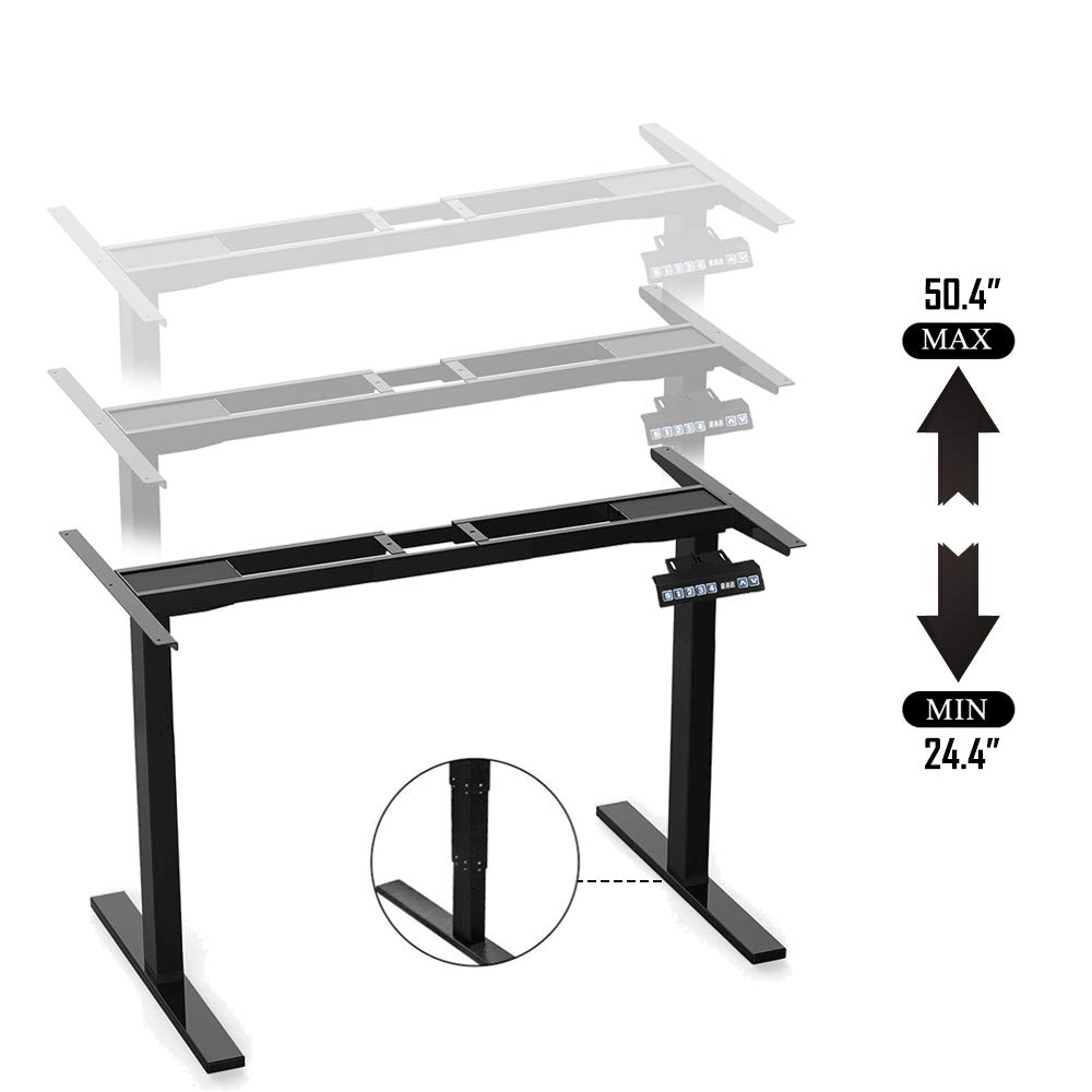Dual Motor Electric Standing Desk Frame ECO-WORTHY Height Adjustable with Memory Preset Controller Workstation Base Black Frame Only, Not Included Tabletop