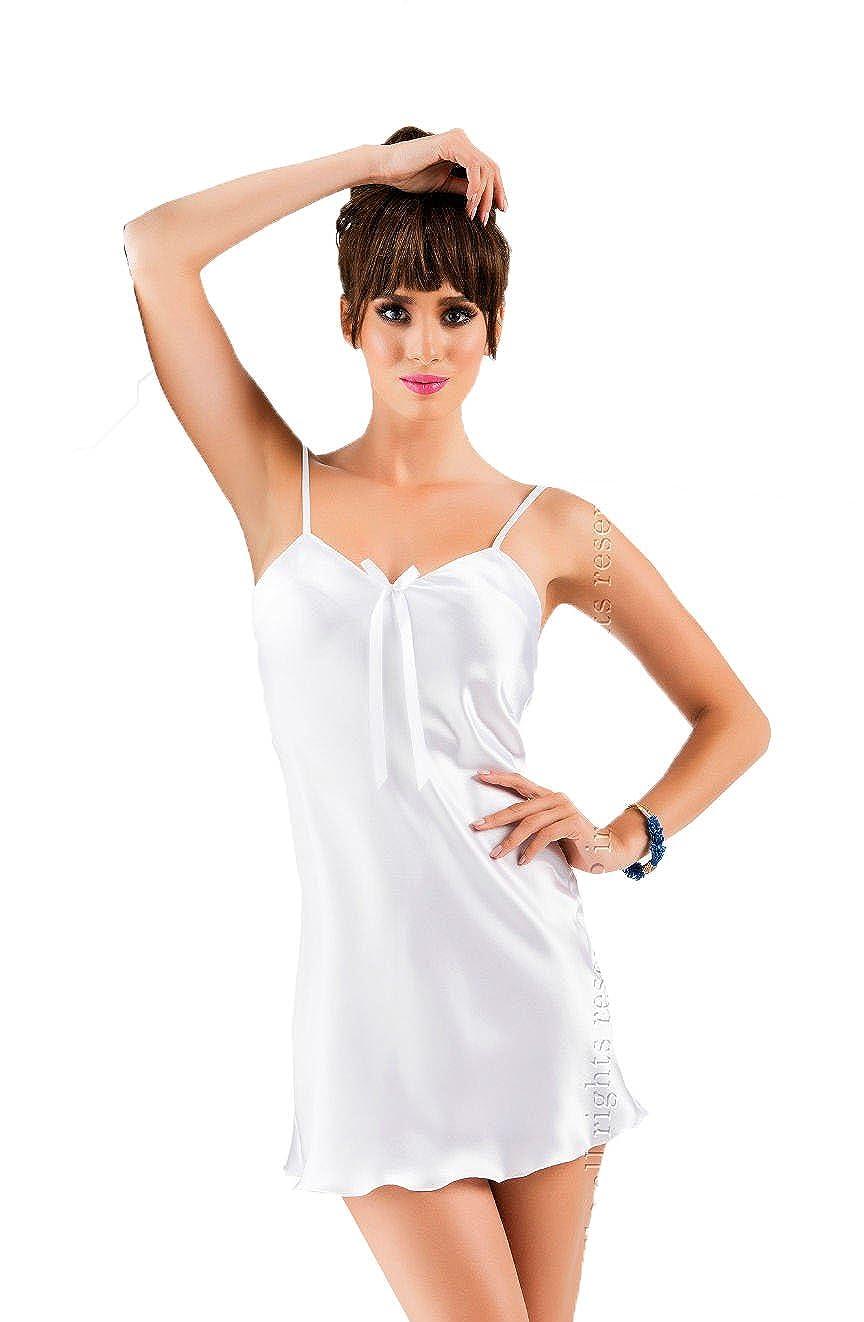 e51eb4dfe9 Sexy Bridal white satin nightdress Wedding Block Colour Slip chemise  sleepwear 8 10 12 14 16 18 UK  Amazon.co.uk  Clothing