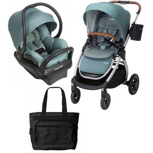 Maxi-Cosi Adorra Stroller Mico Max 30 Infant Car Seat Travel System – Nomad Green with BONUS Diaper Bag