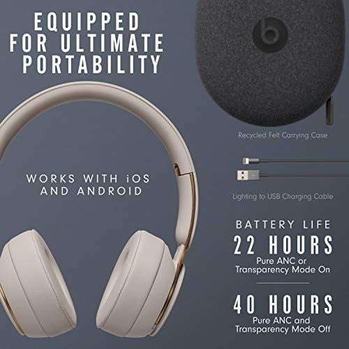 Beats Solo Pro Wireless Noise Cancelling On Ear Headphones Apple H1 Headphone Chip Class 1 Bluetooth Active Noise Cancelling Transparency 22 Hours Of Listening Time Grey Gear Up To Fit