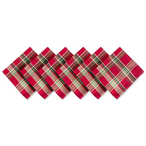 DII Tango Red Plaid 100% Cotton Oversized Napkin for Holidays, Family Gatherings, & Christmas Dinner - Set of 6 (20x20)