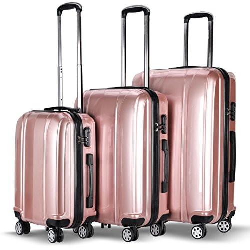 Goplus 3 Piece Luggage Set Hard Rolling Suitcases Carry On for Travel (Pink)