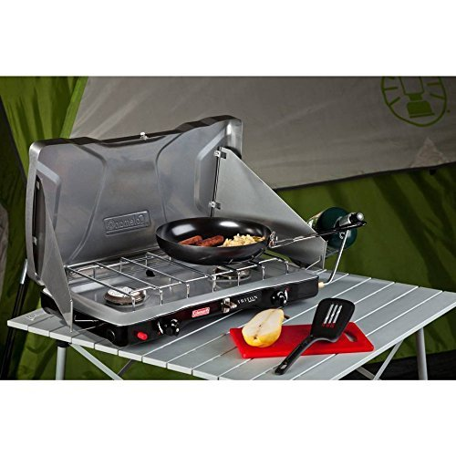 Instastart Stove (Coleman® Triton™+ Propane Stove Features Wind Block Panels, Instastart™ Ignition, 22,000 Total BTUs of Cooking Power, Perfect for Camping, Hunting, Tailgating & Other Outdoor Occasions)