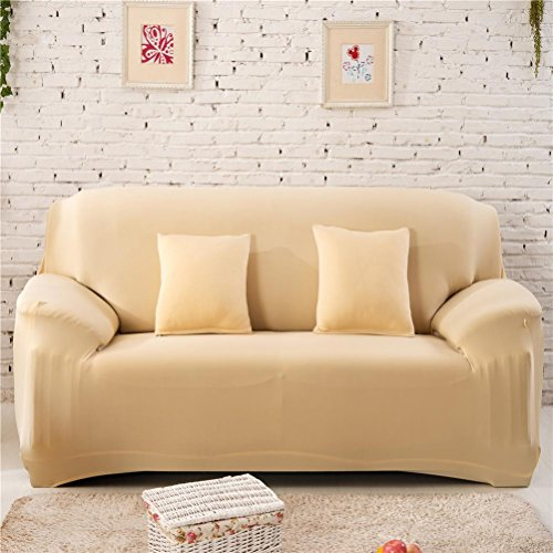 Gotd Single Sofa Couch Slipcover Stretch Covers Elastic Fit Fabric Settee Protector Solid Color, Suitable for sofa size: 235-310cm (Beige) (Sweater Pullover Slip)