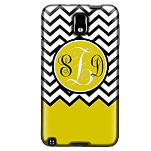 Monogram Samsung Galaxy Note 3 Chevron Black White Yellow Ribon Case