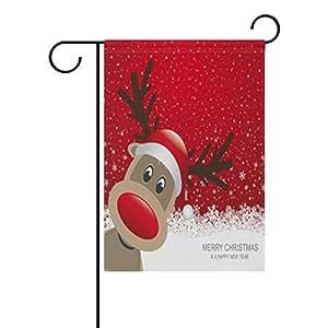 deyya Navidad renos Rojo jardín bandera 12x 18inch poliéster casa bandera de Jardín bienvenida Decor