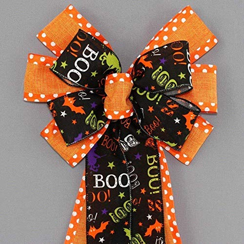 Boo Orange Polka Dot Halloween Wreath Bow - 10