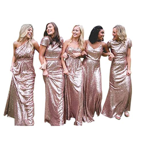 inmagicdress Bridesmaid Dresses Rose Gold Sequins Long Evening Prom Gowns Backless Maid of Honor Dress Wedding IMG203
