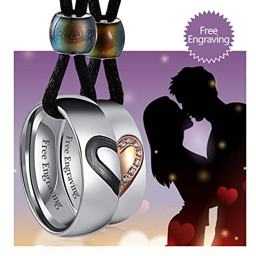 Aienid Couple Necklaces Set for Him and Her Stainless Steel Puzzle Heart Free Engraving,2PCS by Aienid
