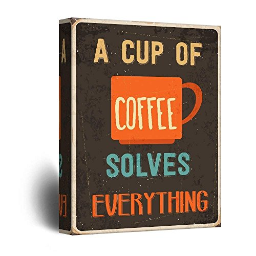 Vintage Style Art with A Cup of Coffee Solves Everything Quotes