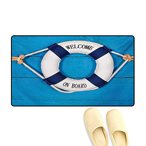 Bath Mat,Welcome on Board Sign on Painted Timber Wall Life Buoy Tightened with Rope,Door Mat Indoors,Blue Navy Blue White,24