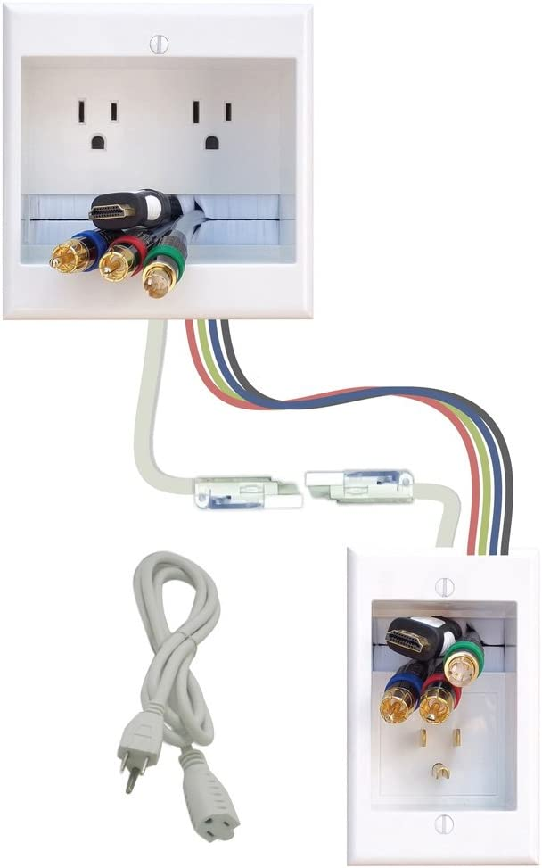 PowerBridge Solutions TWO-CK-36 Dual in-Wall Cable Management for Wall-Mount TVs, 36' PowerConnect Cable