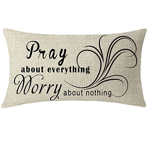 NIDITW Nice Gift Scripture Inspirational Quote Words Pray About Everything Worry About Nothing Waist Lumbar Cotton Linen Throw pillow case Cushion cover Sofa home decorative Oblong 12x20 Inches