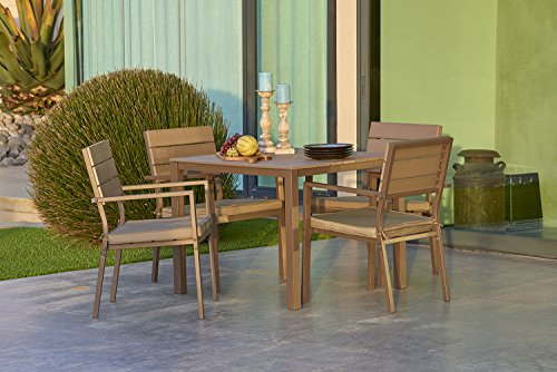 Suncrown Outdoor Steel & Polywood Square Dining Set (5-Piece Set) All Weather Steel Powder Coated Frame with Neutral Beige Water-Resistant Cushions & Polywood Dining Table | Patio, Backyard, Pool