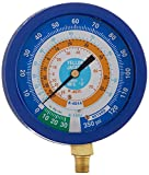 """Yellow Jacket 49518 3-1/2"""" Liquid-Filled Gauge (degrees F) Blue Compound, 30""""-0-120 psi, R-134A/404A/407C"""