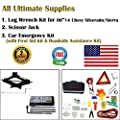 123Pcs Auto Emergency Kit with First Aid Kit and 1Pc Spare Tire Tool Kit with 2-Ton Scissor Jack & Lug Wrench Kit for 2000-2014 Chevy Silverado Sierra, A Real All-In One Pack.