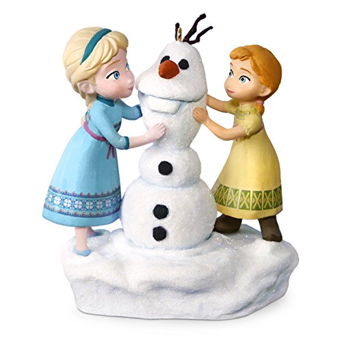 Hallmark Keepsake Disney Frozen Anna and Elsa Build a Snowman Musical Ornament - Blue, (Blue Snowman Ornament)