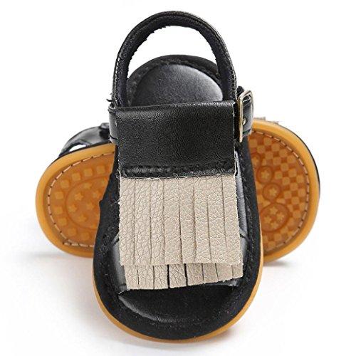 BZLine® Baby Neugeborenen Quaste Soft Sole Leder Schuhe Mädchen Sandalen  Schwarz ... 3379232aee