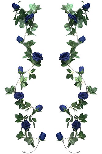 Jing-Rise 2pcs 6.5Ft Artificial Silk Rose Vine Fake Flower Hanging Garland Artificial Plants for Wedding Party Garden Outdoor Home Hotel Office Shop Arch Wall Mirror Decoration (Royal Blue) (Rose Mirror Garden)