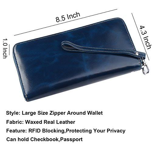 Wristlet Blue Dante Rfid Wallet Blocking Real Leather Purse Large Zip Size Around Women's Travel Clutch HwgHq67