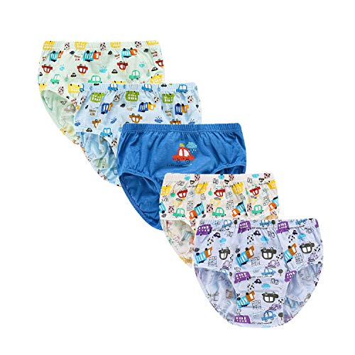 (Baby Boys Car Truck Taxi Boyshort Panties 5 Pack Boxer Shorts Briefs for Kids 2-3 Years Blue)