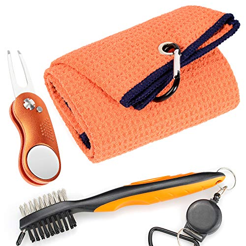 Mile High Life Microfiber Waffle Pattern Golf Towel | Club Groove Cleaner  Brush | Foldable Divot Tool with Magnetic Ball Marker (Orange