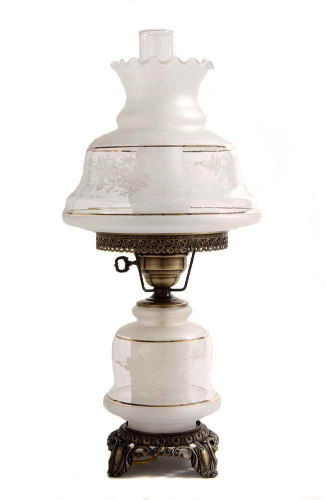 23 in. Victoria's Window Hurricane Table Lamp w 12 in. Shade