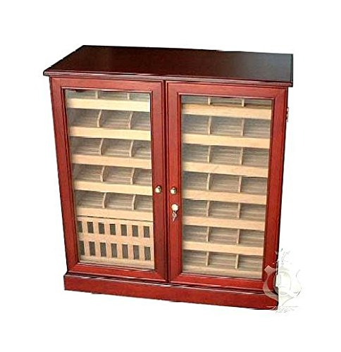 (Quality Importers 3000-Cigar Commercial Cherry Wood Humidor w Glass)