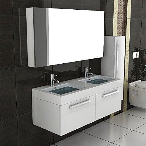 Unterschrank / Waschbecken / Badezimmer Möbel / Badmöbel / Waschtisch / Modell Kema 1200 weiß / Badezimmer Möbel
