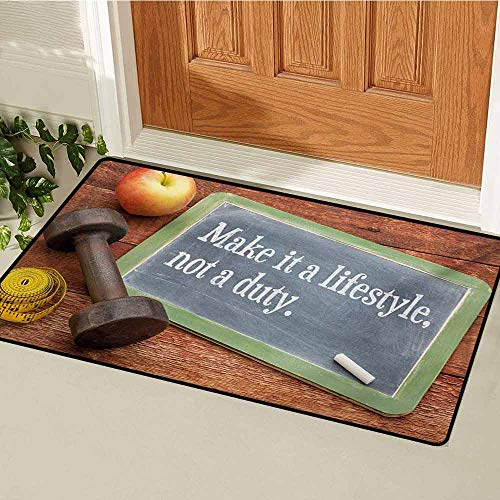 - GUUVOR Fitness Front Door mat Carpet Make It a Lifestyle Not a Duty Chalkboard Apple Dumbbell Tape Measure on Wood Print Machine Washable Door mat W19.7 x L31.5 Inch Multicolor