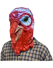 MASCARELLO Latex Animal Realistic Turkey Bird Head Thanksgivings Christmas Dress Up Mask Nice Rooster Animal Cosplay Mask Halloween Costume Party Toy