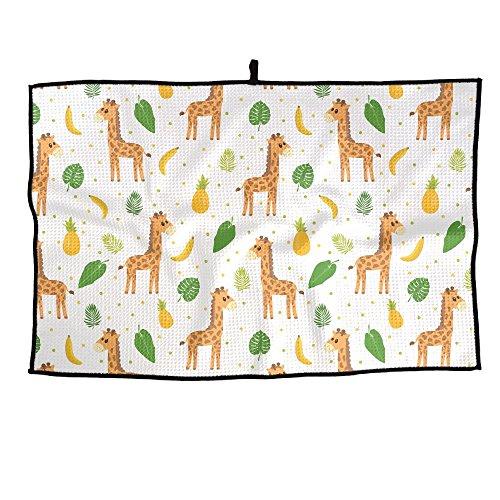 - HenSLK Ute Cartoon Little Giraffe Grid Microfiber Cooling Golf Towel Light Weight & Quick Drying & Super Absorbent Sport Travel Towel For Activities