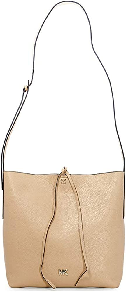 Michael Kors Junie Large Pebbled Leather Messenger Bag- Butternut