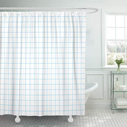 Emvency Fabric Shower Curtain with Hooks Graph Grid Pattern Blueprint Engineering Abstract Architect Geometric Graphic Line 60