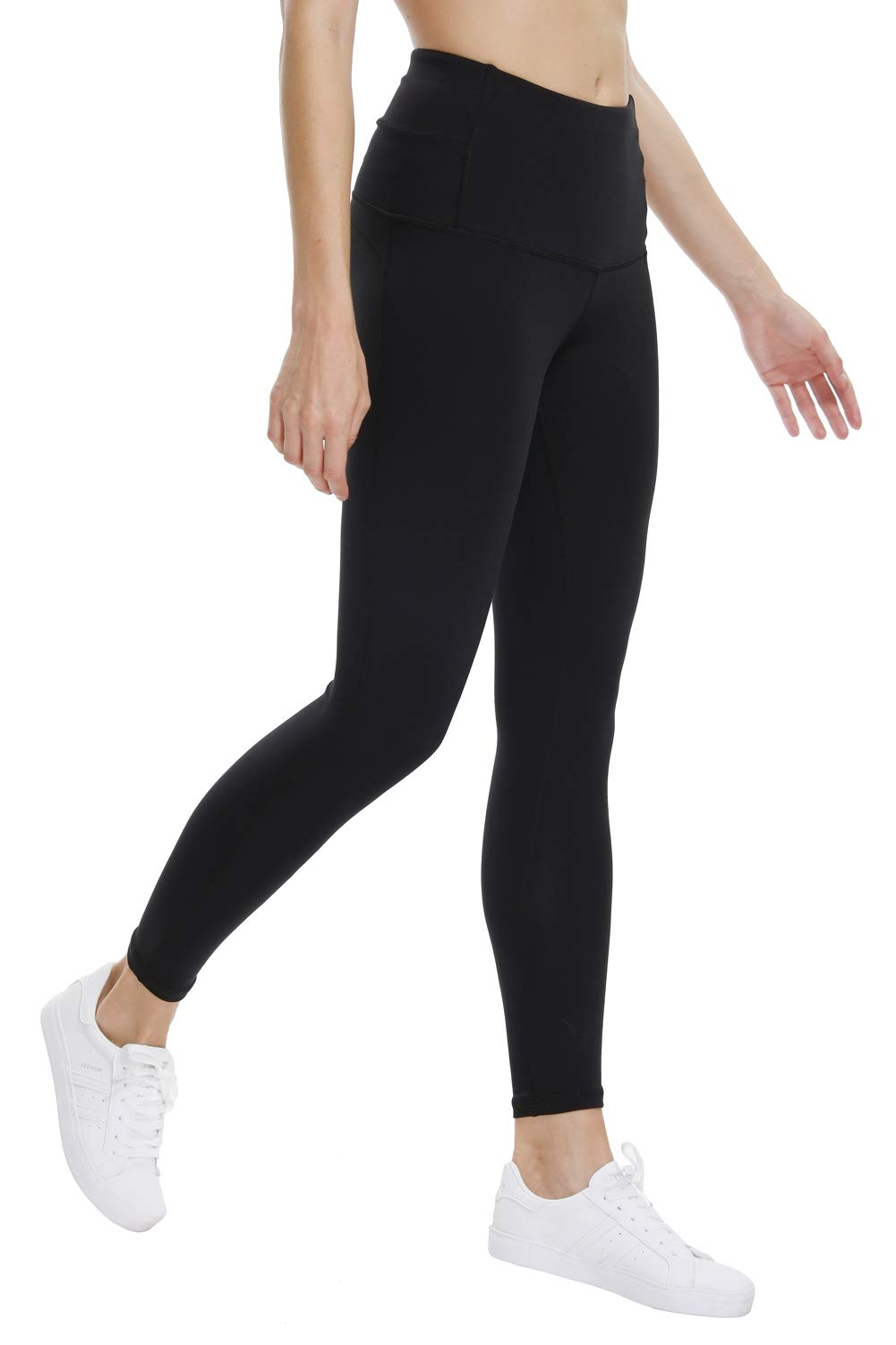 THE GYM PEOPLE High Waist Yoga Pants for Women Tummy Control Running Workout Yoga Capri Leggings with Back Hidden Pocket (Large, 02/Black)