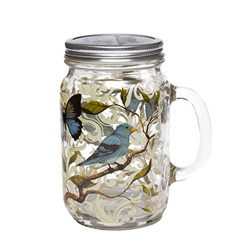 27oz Glass Mason Jar with Handle and Lid,Bird and Butterfly ()