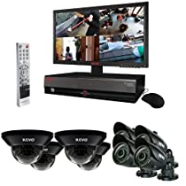 Revo Home/Business Video Monitoring Surveillance System DVR 16 Ch 3TB w/d 8 Night Vision Indoor/Outdoor Cameras, Security Monitor - R164D4GB4GM21-3T