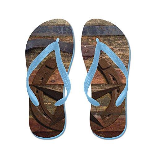 Cafepress Western Horseshoe Texas Star - Flip Flops, Grappige String Sandalen, Strand Sandalen Caribbean Blue