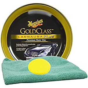 Meguiar's Gold Class Carnauba Plus Premium Paste Wax Bundle With Foam Pad & Microfiber Cloth (3 Items)