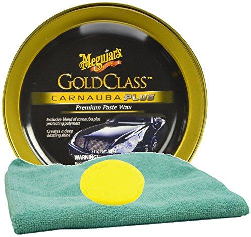 (Meguiar's Gold Class Carnauba Plus Premium Paste Wax Bundle With Foam Pad & Microfiber Cloth (3 Items))