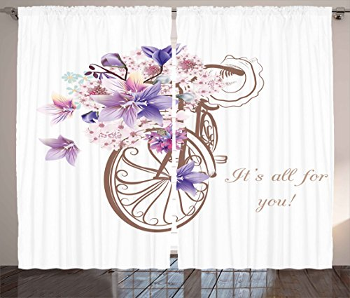 Ambesonne Floral Curtains, Bicycle with Basket of Flowers Vintage Spring Time Artwork Image, Living Room Bedroom Window Drapes 2 Panel Set, 108W X 108L Inches, Umber Lavander and Light Pink