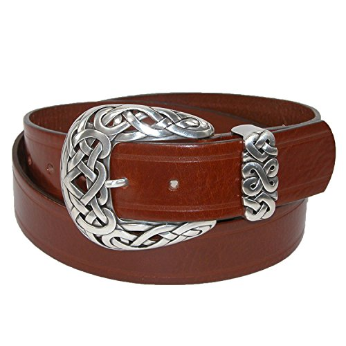 Belt Shak Women's Italian Leather Belt with Celtic Knot Buckle, Large, Rust