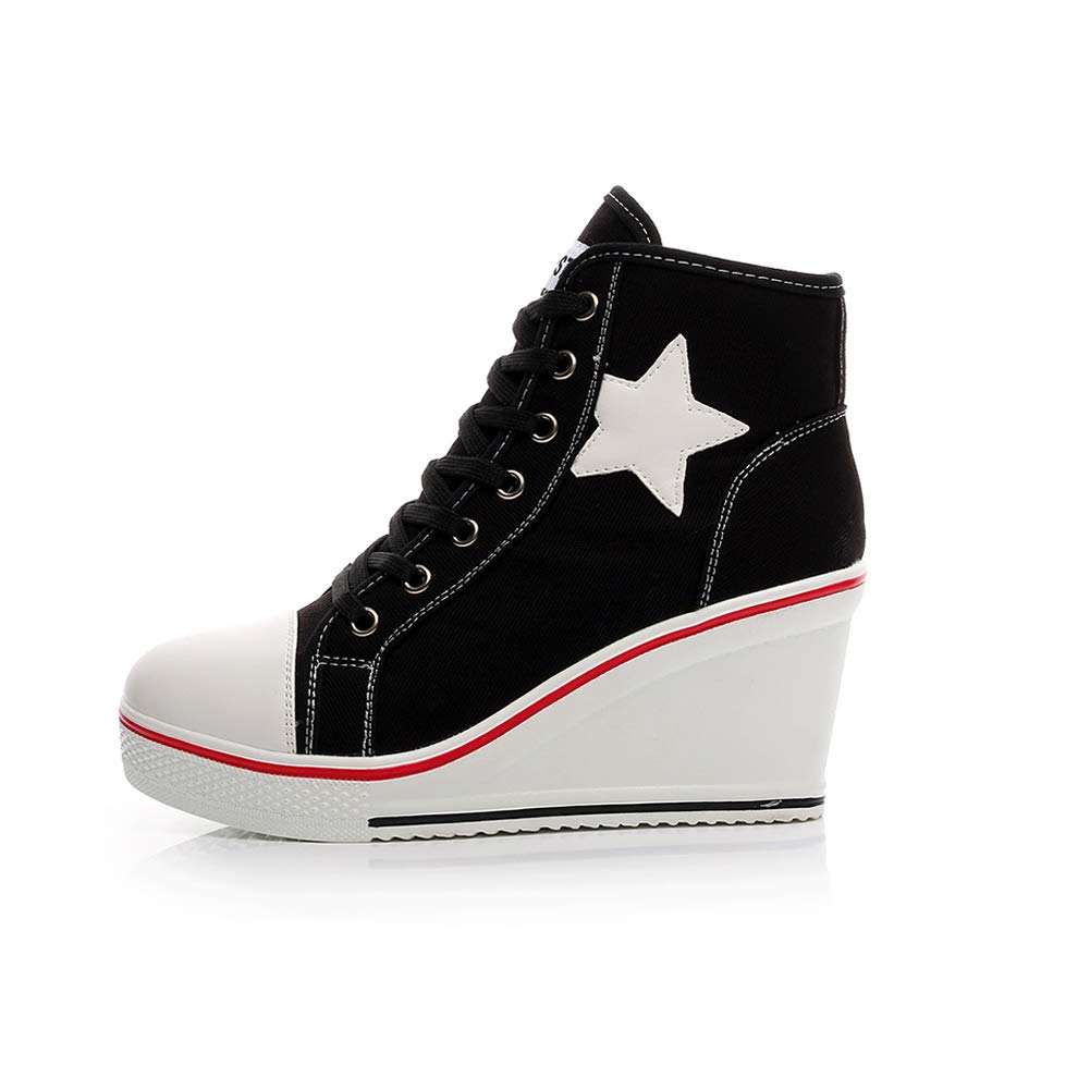 0810363e75eb Sokaly Women s Girl s Canvas Wedge Sneaker Ladies Trainers Lace up Side Zip  High-Top Platforms Pump Shoes  Amazon.co.uk  Shoes   Bags