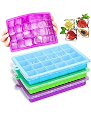 3-Pack Silicone Ice Cube Trays with Removable Lids, Easy Ice Release 24 Ice Cube Molds, Ice Cube Maker,Ideal for Whiskey, Cocktails, Juice, Freezer, Baby Food and Frozen Treats